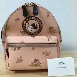 Coach x Disney Collaboration Minnie Mouse Pink Backpack Floral Unused Mickey