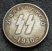 50 REICHSPFENNIG 1940 SS KANTINEGELD GERMAN COLLECTORS COIN 3RD REICH WW2 HITLER