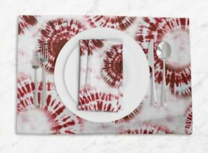 S4Sassy Swirl Tie-Dye Washable Placemats & Napkins Table Decor Mats-TD-40H