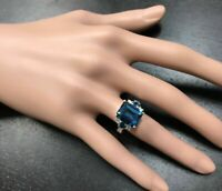 4.50Ct Emerald Cut London Blue Topaz Solitaire Promise Ring 14K White Gold Over