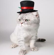 Cat Dog Pet Hat Christmas Festive Dress Up Gentleman Black Hat Costume Hat