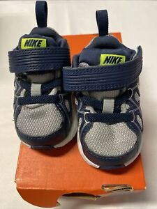 EUC Nike Dart 10 TDV Baby Toddler Boys Blue Silver Shoes 2c
