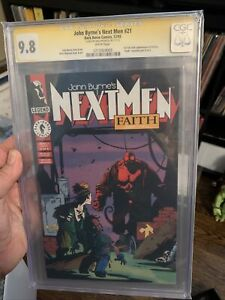 JOHN BYRNE'S NEXT MEN #21 SS CGC 9.8 1ST HELLBOY IN COLOR SIGNED BY MIKE MIGNOLA