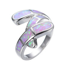 Size 9 Pink Fire Opal Ring Womens 925 Silver Plated Engagement & Wedding Jewelry