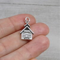 925 Sterling Silver School House Charm - Teacher Gift Pendant NEW