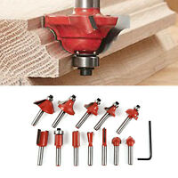 "12PC 1/4"" Professional Shank Tungsten Carbide Router Bit Set w/ Wood Case"