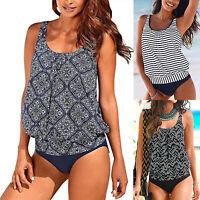 Women Blouson Sporty Tankini Set Padded Swimwear Swimsuit Bathing Suit Plus Size