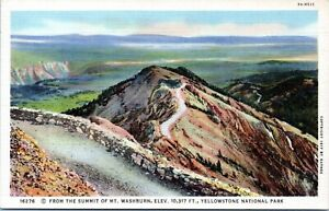 Yellowstone Mt Washburn Summit View Haynes 16276 Linen Postcard BK