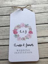 Personalised Vintage/Rustic Pink Peonies Luggage Tag Wedding Invitation Sample