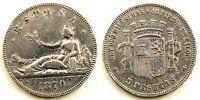 Spain-Gobierno provisional. 5 Peseta 1870*18-70. Madrid. Plata 25 g.