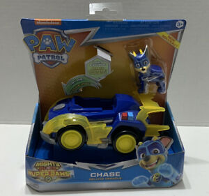 Paw Patrol Mighty Pups Super Paws Chase's Deluxe Vehicle W/ Lights & Sounds New