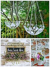 Vintage Hanging Ornate Shabby Basket Planter Metal Wood  Planter Pot Holder New