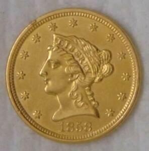 1858 Gold Liberty Head $2.5 Quarter Eagle, MS++ UNC, SWEET COIN!