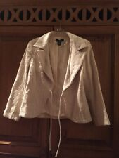 Arden B Cotton Jacket! Blazer White Beige Lined Tie Front Closure Size L