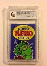 1967 Super Hero Stickers wax pack GAI 9 Incredible Hulk Marvel Stan Lee