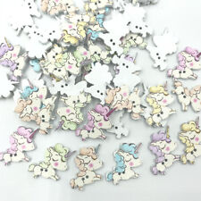 50PCS Cartoon Unicorn Wooden Buttons sewing scrapbooking Kid's Handicrafts 25mm