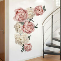 KQ_ Peony Rose Flowers Wall Sticker Art Nursery Decals Kids Room Home Decor Gift
