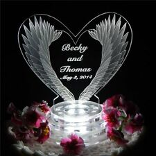Personalized Feather Wing Heart Lighted Wedding CakeTopper Acrylic Custom LED