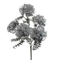 5 Carnations Silver Wedding Bouquet Centerpieces Silk Flowers Anniversary Decor