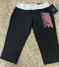 NIKE Girl's SZ Medium Legend Tight Fit Black/Gray/Blue Capri Leggings 708052-010