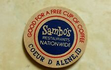 Sambo's wood TOKEN  free coffee token Coeur d Alene, ID collectable