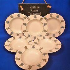 "Royal Cauldon June Garden - 6 x Rimmed Soup / Dessert Bowls (8¼"") Vintage 1960s"