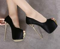 Womens Sexy Open Toe Nightclub High Heel Pumps Platform Stiletto Shoes Party