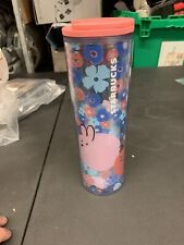 NEW Starbucks Floral Rabbit Chick Clear Blue Tumbler 16oz Bunny Pink lid 16 oz