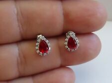 925 STERLING SILVER TEARDROP STUD EARRINGS W/ 2 CT MAN MADE RUBY & ACCENTS