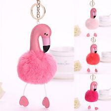 Flamingo Keychain Fluffy Faux Rabbit Fur Ball Key Chain Women Car Bag Key Ring F