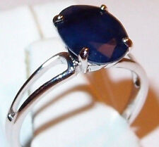 Madagascar Blue Sapphire solitaire in solid 9ct White Gold, Size M.