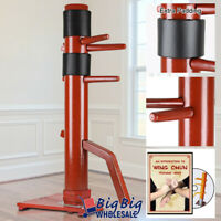 Wing Chun Wooden Training Target Dummy Base Solid Practice Martial Arts Red