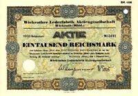 Wickrather Lederfabrik AG Wickrath histor Aktie 1941 MönchenGladbach Niederrhein