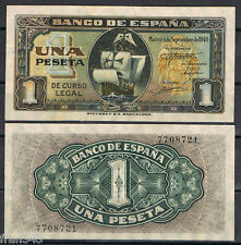 1 PESETA SEPTIEMBRE 1940 CARABELA Sin Serie  SC-  AUNC   SPAIN Pick 122