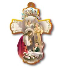 "Large 8"" FIRST HOLY COMMUNION Wall Cross ~ Boy Jesus Angels Keepsake Gift ~ NEW"