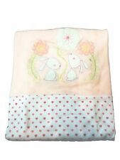 Supersoft Luxurious Baby Pram/Crib Blanket - Pink Bunny & Flowers/Hearts - 100%