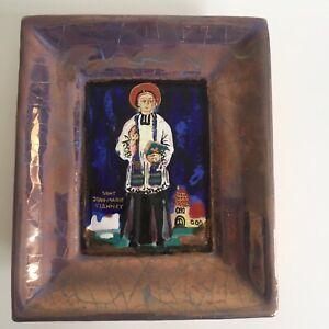 Saint Jean Marie Vianney Plaque Céramique Signature à identifier Religion