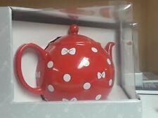 Disney Parks Minnie Mouse Red Ceramic Tea Pot w/ White Bows & Polka Dots New