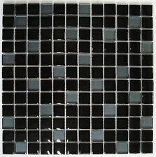 Glasmosaik Glasfliese schwarz 8mm 29,8x 29,8x0,8cm; Klarglas Bad Küche AKTION