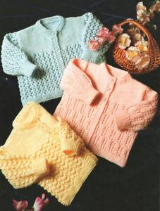 "Baby Round Neck Matinee Coats -  3 Designs -  16"" - 20"" -  DK Knitting Pattern"
