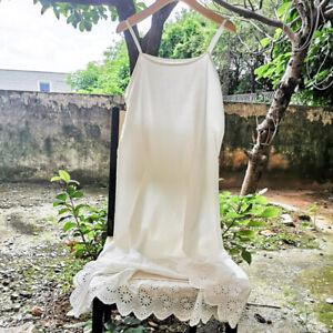 Women Cotton Underdress Lace Embroidery Hem Strappy Full Slip Dress Petticoat