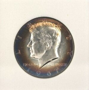 1967 KENNEDY SILVER 50 CENTS GEM++ UNC INCREDIBLE TONING!! SCARCE THIS NICE!