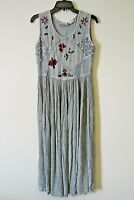 Premier Intl Ladies Dress Sz XS-S Maxi Broomstick Boho Crinkle Rayon Green Gray