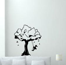 Girl Tree Wall Decal Swing Vinyl Sticker Baby Kids Nursery Decor Mural 255hor