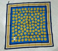 Vintage Rare Scarf YVES SAINT LAURENT Coins Blue Yellow 100%Twill silk 88cm