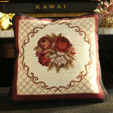 1.1'Chic Shabby French Swirls Needlepoint Pillow Rose Bouquet Handmade Beige