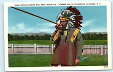 *Cherokee Indian Reservation NC Native Blow Gun Headdress Vintage Postcard C59