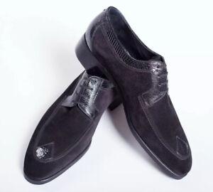 NWB $3650 Artioli SNAKESKIN Black Derby Suede Shoes 7,5UK / 8,5US / 41,5EU