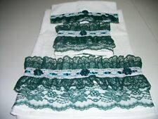 3Pc White And Hunter Green Lace Trim Bath Towel Sets