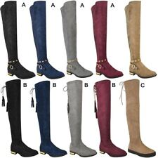 Womens Ladies Flat Thigh High Boots Over The Knee Casual Winter Shoes Size New